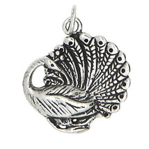 STERLING SILVER PEACOCK BIRD CHARM/PENDANT - $16.09