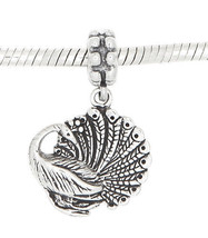 STERLING SILVER PEACOCK BIRD EUROPEAN STYLE DANGLE CHARM BEAD - $23.83