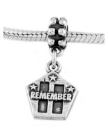 STERLING SILVER  REMEMBER  9-11-01 TWIN TOWERS & PENTAGON EUROPEAN DANGL... - $16.98
