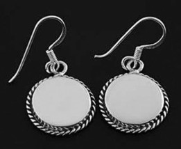 Sterling Silver Round Dangle Earrings Free Engrave - $37.36