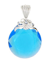 STERLING SILVER ROUND BIG LIGHT BLUE SWAROVSKI CRYSTAL PENDANT - $54.22