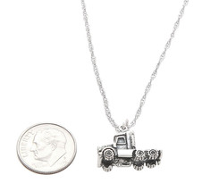 STERLING SILVER SEMI TRUCK CHARM WITH SINGAPORE CHAIN NECKLACE - $41.13+