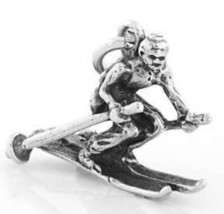 STERLING SILVER SNOW SKIER CHARM/PENDANT - $9.99