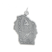 STERLING SILVER STATE OF DAIRY PRODUCTS MAP OF WISCONSIN CHARM PENDANT - $9.99