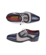 Paul Parkman Men's Navy and Beige Leather Cap Toe Shoe (Made to Order) - £320.60 GBP