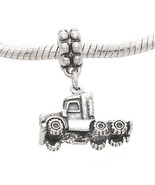 STERLING SILVER THREE DIMENSIONAL SEMI TRUCK EUROPEAN STYLE DANGLE BEAD - $33.66