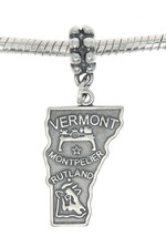 STERLING SILVER TRAVEL STATE MAP OF VERMONT DANGLE EUROPEAN BEAD CHARM - $16.50