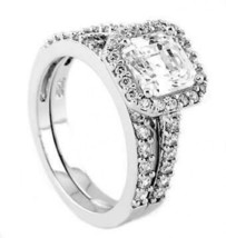 Sterling Silver 2 Ct Cushion Cut Cubic Zirconia Engagement and Wedding S... - $37.96+