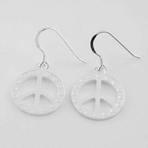 Sterling Silver 925 Peace Symbol Fish Hook Earrings - $22.91