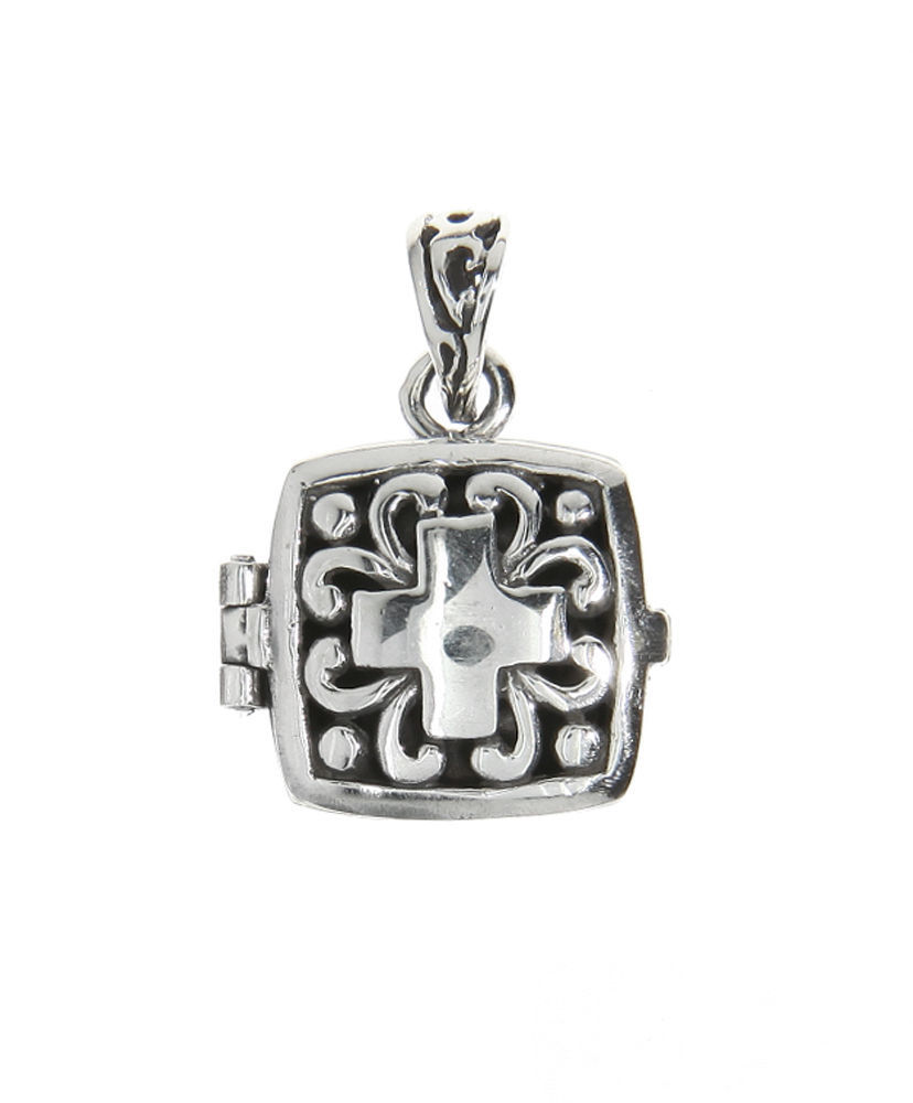 Sterling Silver Antique Filigree Cross Flat Prayer Box Charm Pendant image 1