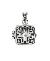 Sterling Silver Antique Filigree Cross Flat Prayer Box Charm Pendant - $22.99