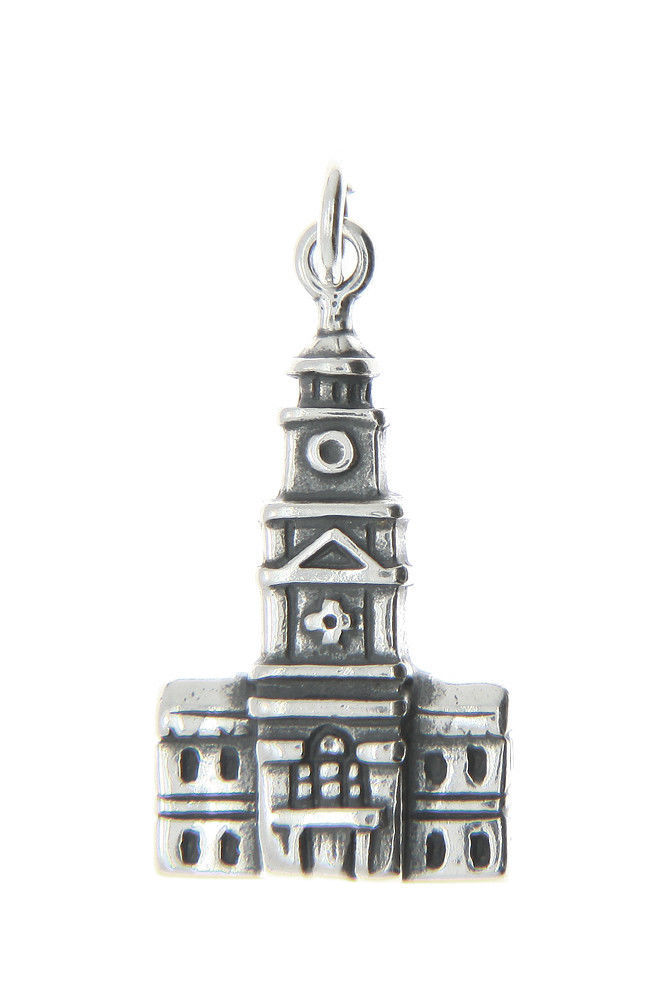 Primary image for Sterling Silver Independence Hall Philadelphia Charm Pendant