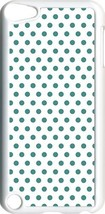 White and Teal Blue Polka Dots on iPod Touch 5th Gen 5G White TPU Case C... - $9.46