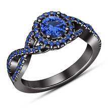 Blue Sapphire Womens Engagement Ring 14k Black Gold Finish 925 Sterling ... - £57.16 GBP