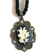 Butterfly and Flowers Cameo Pendant Adjustable Long Necklace or Choker - $20.00