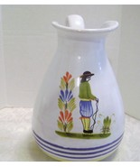 Wide Mouth Ceramic Italian Pitcher with vintage Design - $16.00