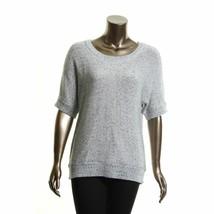 4581-2 TOMMY HILFIGER White/Navy Blue Marled Josefina Scoop Neck Sweater... - $23.14