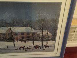 "Vintage Large Framed Matted 37""x 31"" Michel Delacroix Print La Chasse d'Hiver image 7"