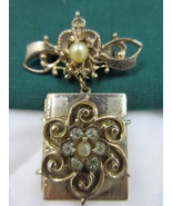 Locket Brooch Pin CORO Book Type Dangle from Bow Heart Vtg SIGNED  - $6.99