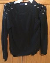 Black Girls Sweater, Shoe Lace Shoulders, Size Medium 7/8 - $12.34