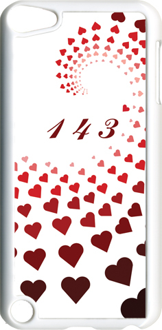 "Graduating Red Hearts with ""143""  iPod Touch 5th Gen 5G on White TPU Case Cover"