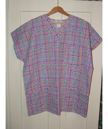 Multi-Colored Checkerboard Print  Size XL  Women's Scrub Top   - $7.99