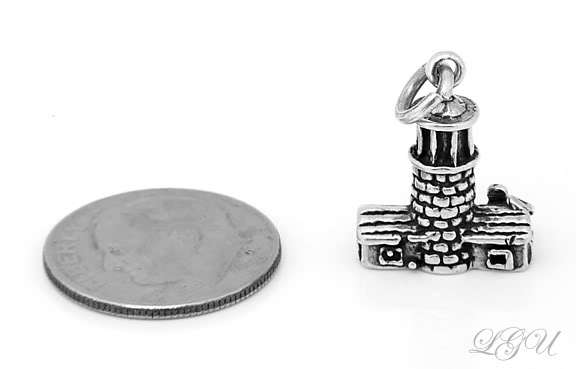 NEW STERLING SILVER 925 LIGHTHOUSE 3D CHARM/PENDANT image 3