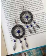 Dream catcher earrings, tree of life feather earrings, boho lapis earrings - $22.95