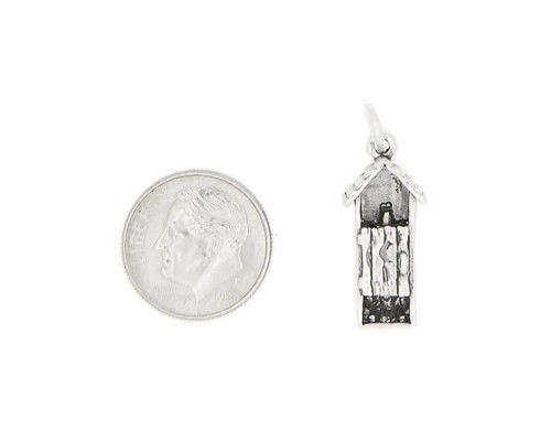 SILVER 3D OUTHOUSE CHARM OR PENDANT