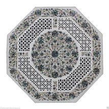 "24"" White Marble Side Coffee Top Table Pauashell Mosaic Floral Art Handm... - £2,149.02 GBP"