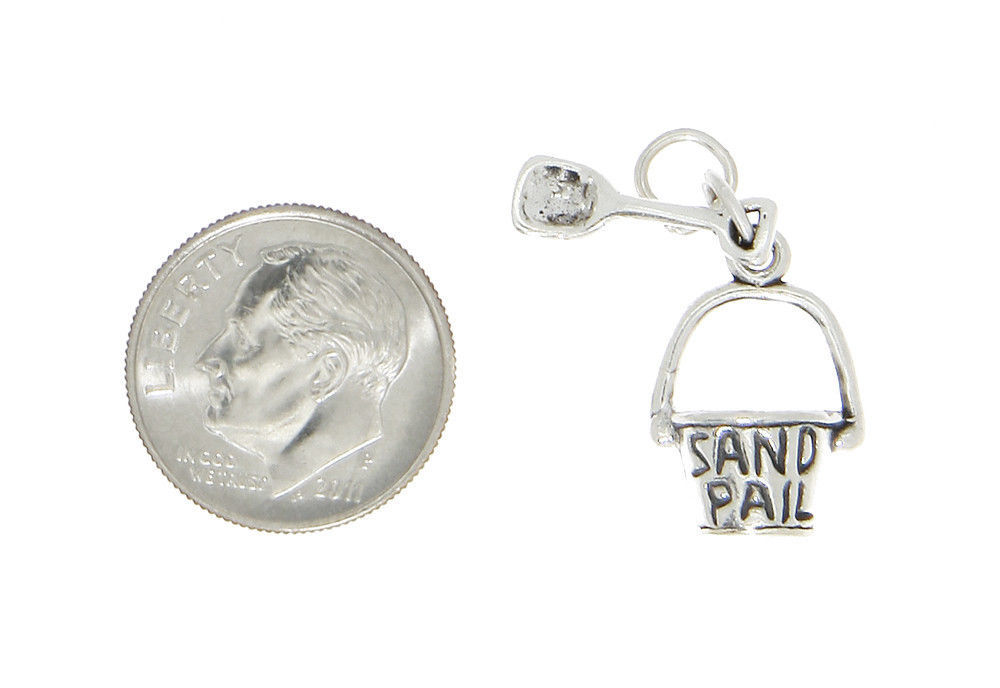 STERLING SILVER 3D BEACH SAND PAIL BUCKET & SHOVEL CHARM OR PENDANT