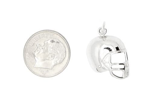 STERLING SILVER 2D ONE SIDED FOOTBALL PLAYER'S HELMET CHARM/PENDANT image 3