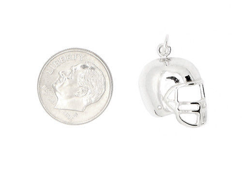 STERLING SILVER 2D ONE SIDED FOOTBALL PLAYER'S HELMET CHARM/PENDANT image 2