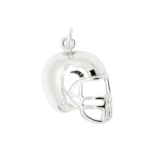STERLING SILVER 2D ONE SIDED FOOTBALL PLAYER'S HELMET CHARM/PENDANT
