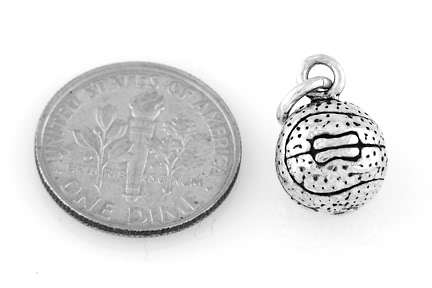 """STERLING SILVER BASKETBALL CHARM WITH 16"""" BOX CHAIN image 3"""