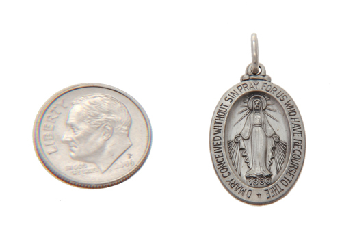 STERLING SILVER CIRCLE OF TWELVE STARS VIRGIN MARY OVAL DISC CHARM/PENDANT