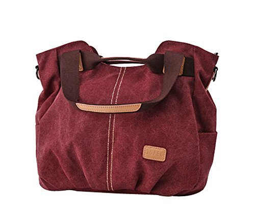Modern Canvas Bag Handbag Shoulder Bag Unique Cross Body Bag Wine RED