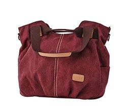 Modern Canvas Bag Handbag Shoulder Bag Unique Cross Body Bag Wine RED