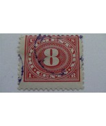 Large Numeral In Oval Carmine Rose USA Used 8 Cent Revenue Stamp - $7.86