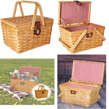 Vintiquewise(Tm) Qi003081 Gingham Lined Picnic Basket With Folding Handles - $28.28