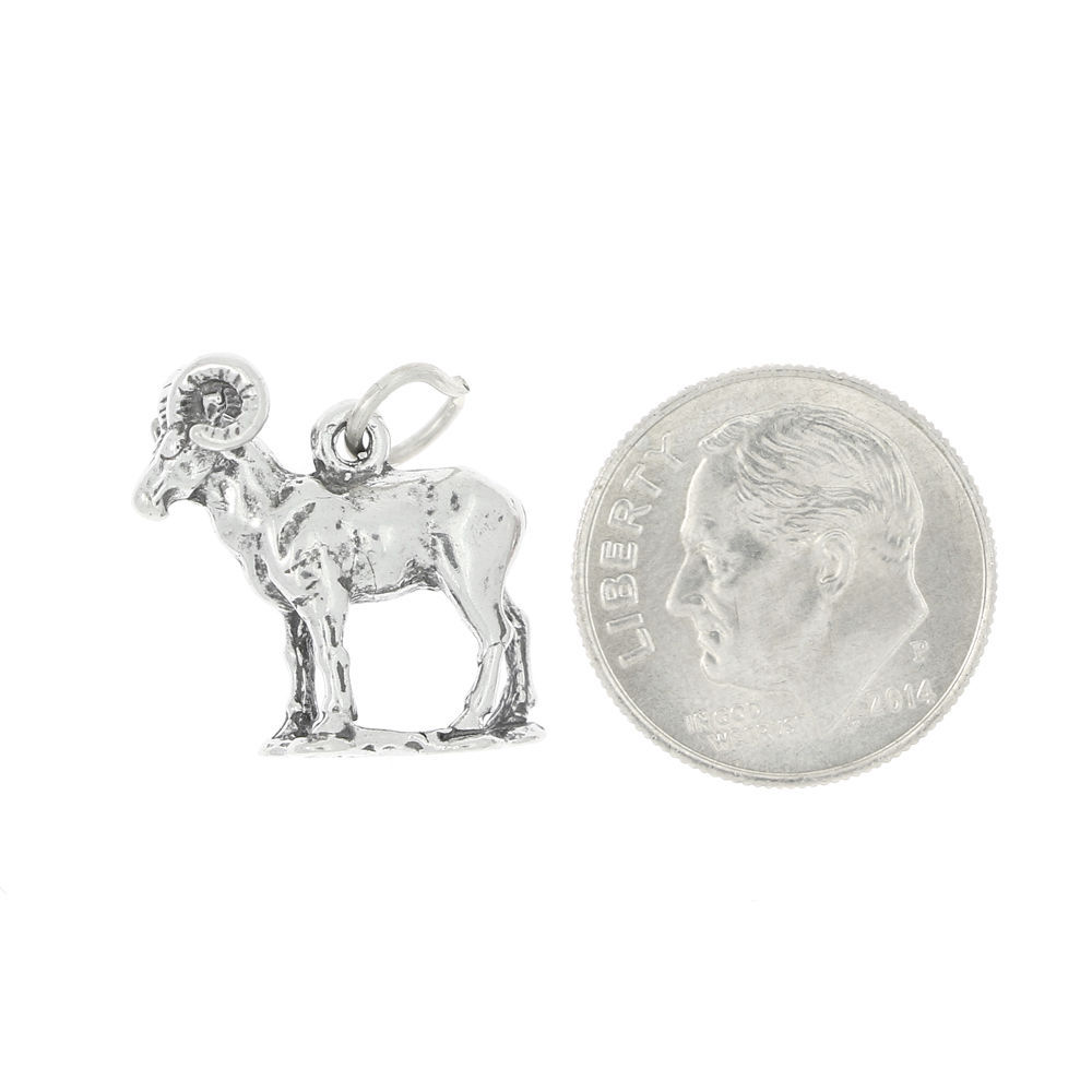 STERLING SILVER STANDING RAM CHARM OR PENDANT