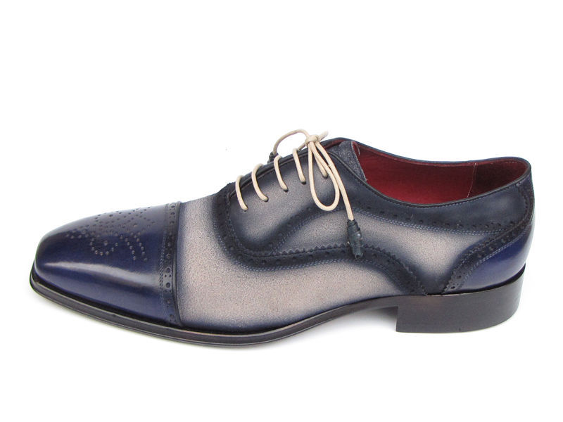 Paul Parkman Men's Navy and Beige Leather Cap Toe Shoe (Made to Order)