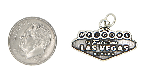 STERLING SILVER WELCOME TO LAS VEGAS NEVADA CHARM/PENDANT