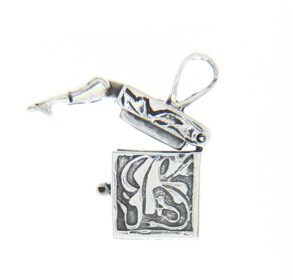 Sterling Silver Antique Filigree Design Prayer Box Charm Pendant