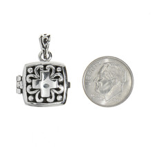 Sterling Silver Antique Filigree Cross Flat Prayer Box Charm Pendant image 2