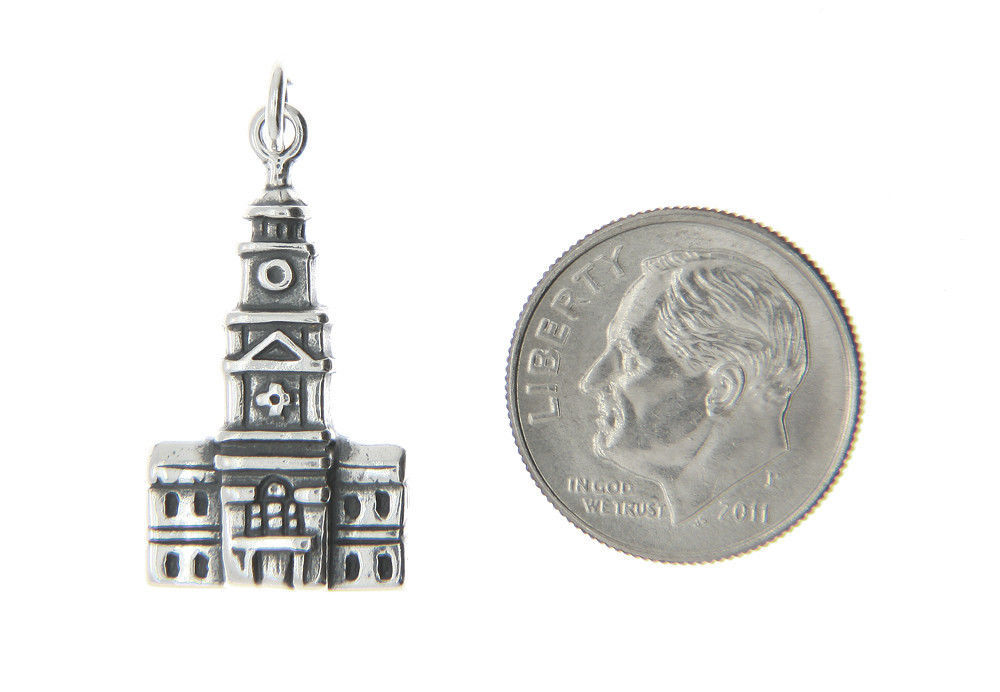 Sterling Silver Independence Hall Philadelphia Charm Pendant