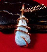 Natural Larimar Dolphin Stone Bronze Merlin's Gold Gemstone Pendant #101 - $51.30