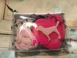 Victoria's Secret PINK bath bomb dog sponge makeup bag set of 3 New - $12.19