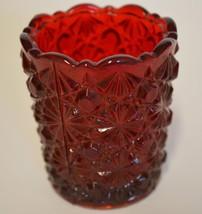 Mosser Glass ~ Ruby Red Button & Daisy Toothpick Match Votive Holder - $19.95