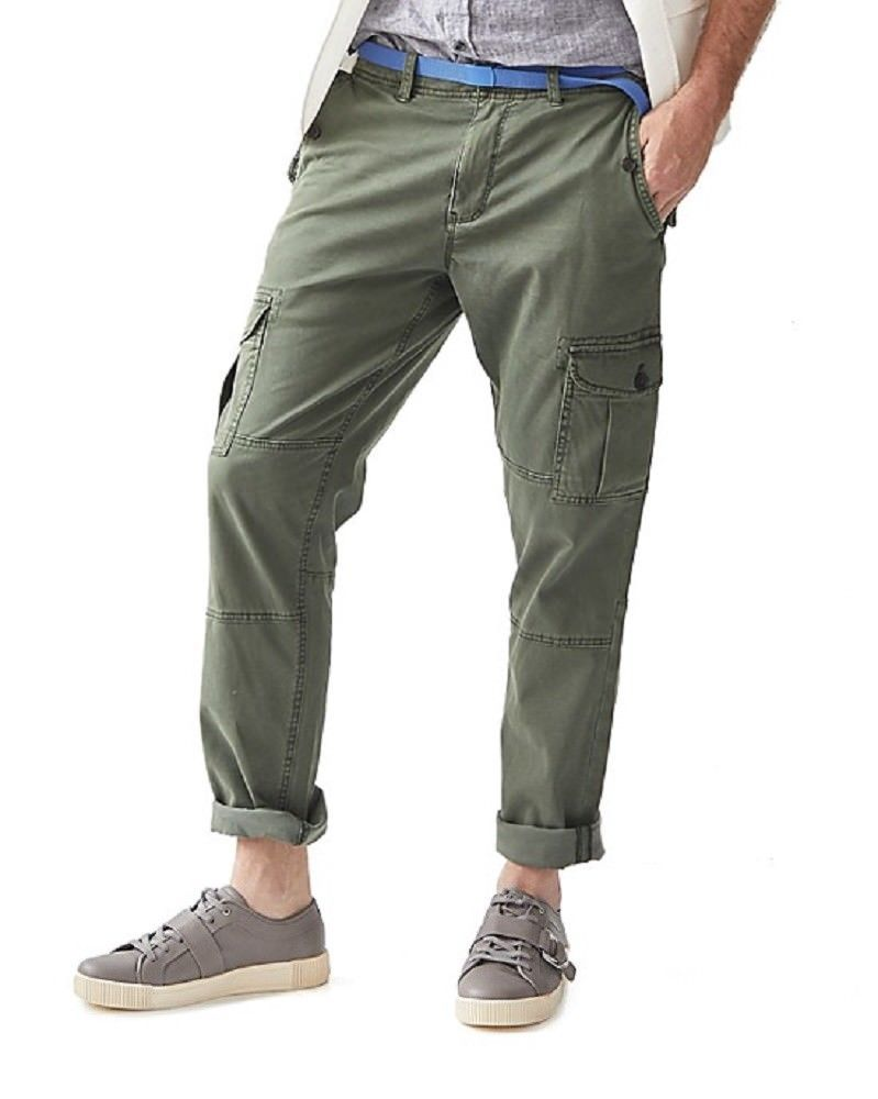 Primary image for NEW MICHAEL BASTIAN AGAVE GREEN LINEN BLEND CAVALRY TWILL CARGO PANTS SIZE 30